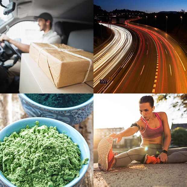 Image block:  1: Driver with package 2: Hwy blurred 3: Supliment powder 4: Woman stretching