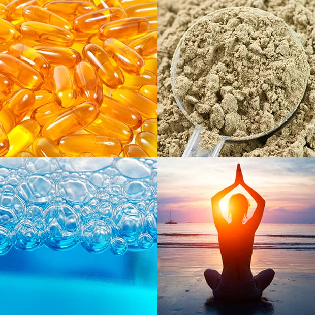 Image: block of 4 images - vitamins, oats, water, woman meditating